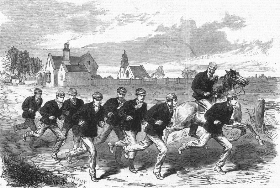 Associate Product Oxford & Cambridge boat race. Cambridge crew training, Barnes Common, 1868