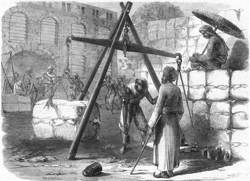 Associate Product INDIA. Weighing cotton, Mumbai for English market, antique print, 1862