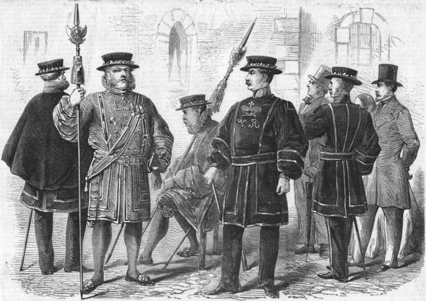 Associate Product LONDON. Yeomen of guard in costumes, antique print, 1858