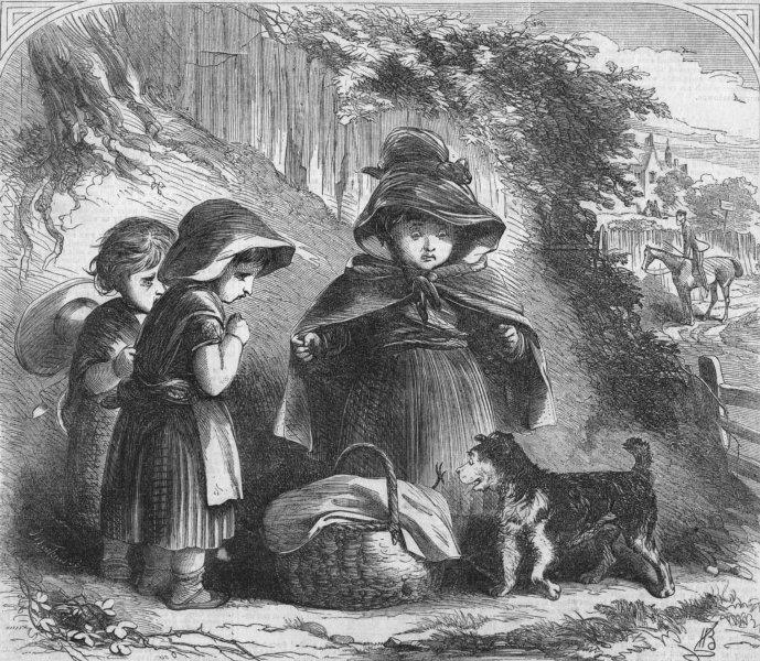 Associate Product CHILDREN. An impudent puppy, antique print, 1858