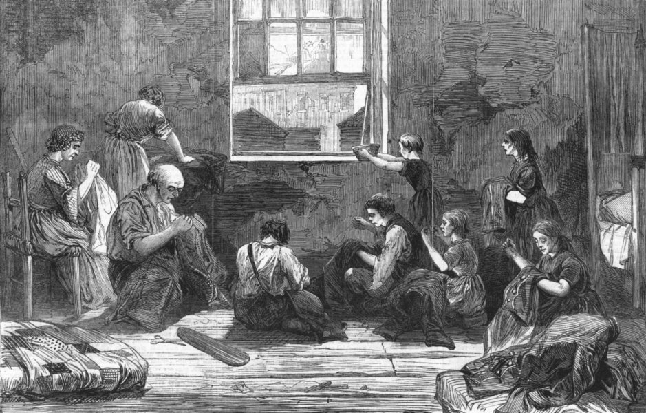 Associate Product BETHNAL GREEN. Tailor & family, 10 Hollybush Place, antique print, 1863