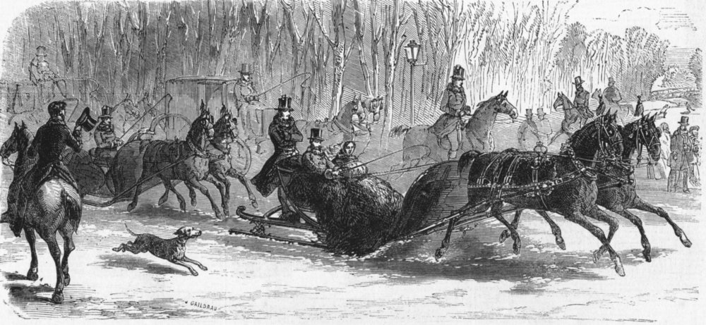 Associate Product WINTER SPORTS. The imperial sledge, antique print, 1859