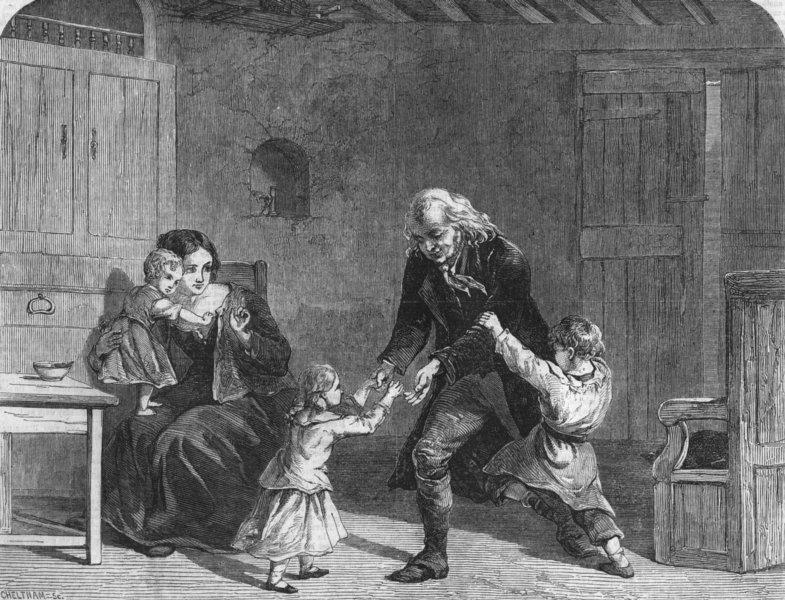 Associate Product FAMILIES. Grandfather's visit, antique print, 1856