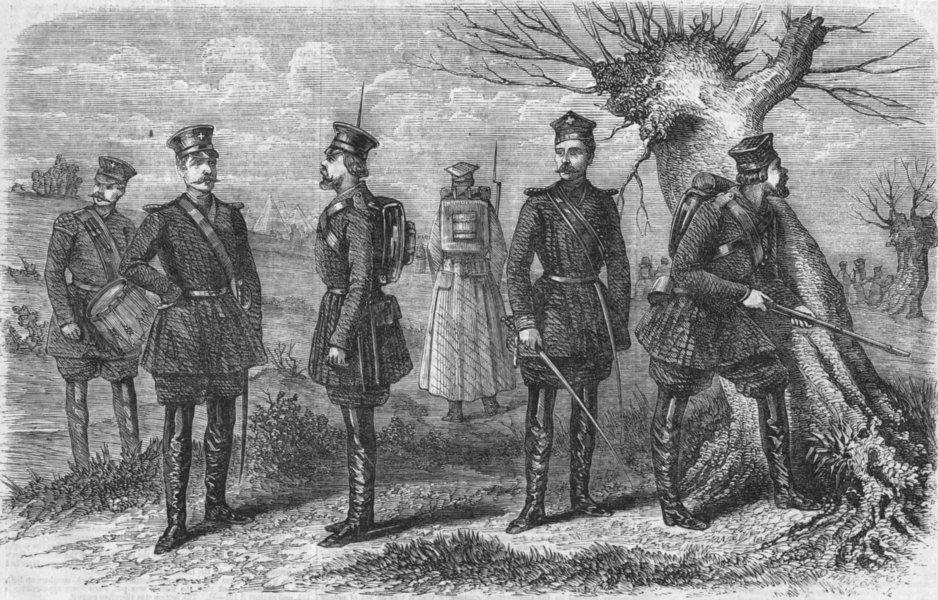 Associate Product COSTUME. Costumes of Russian riflemen & militia, antique print, 1856