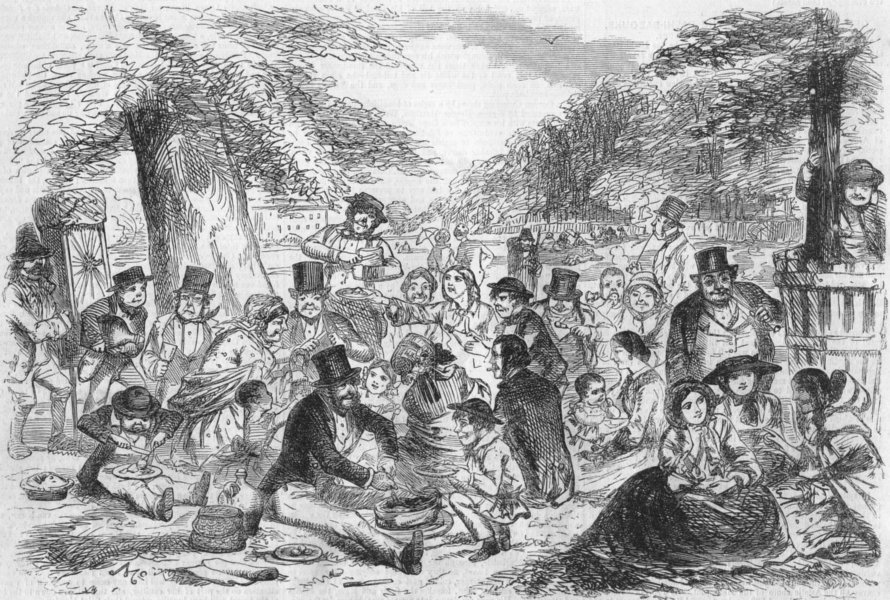 """Associate Product HAMPTON COURT. St Monday the """"People's holiday"""". a Picnic, antique print, 1855"""