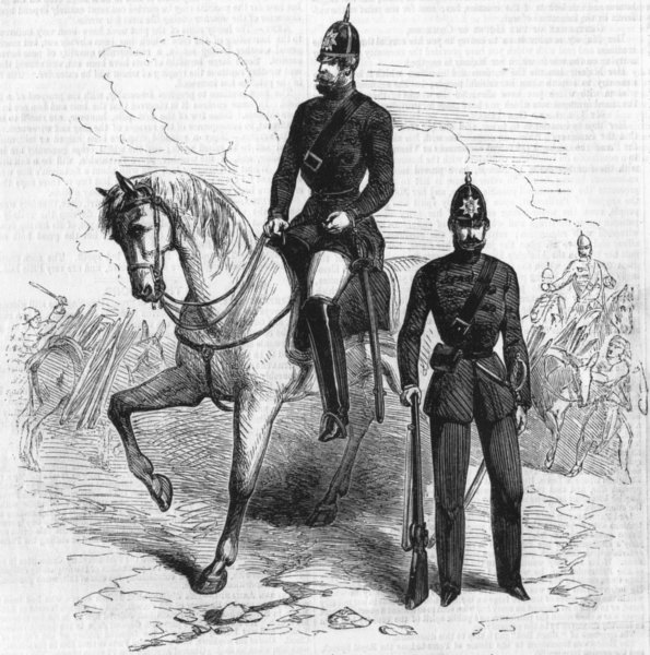 Associate Product MILITARIA. The Crimean mounted police, antique print, 1855