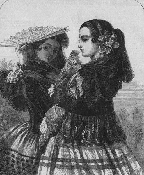 Associate Product SPAIN. El paseo, antique print, 1855