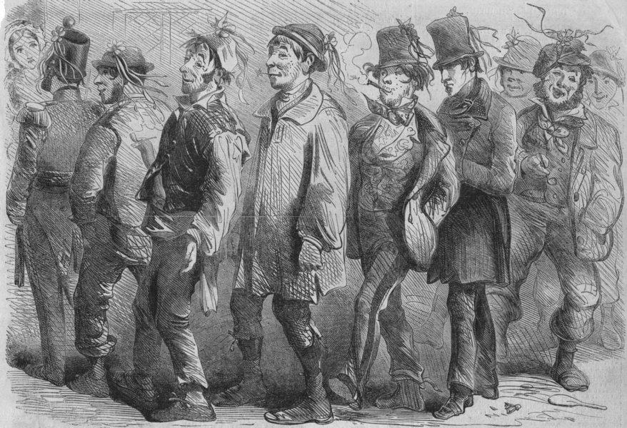 MILITARIA. English recruits, antique print, 1856