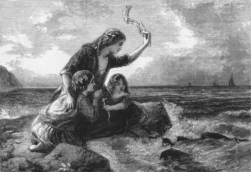 Associate Product CHILDREN. Caught by the tide, antique print, 1857