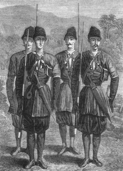 Associate Product MILITARIA. Persian irregular troops, antique print, 1856