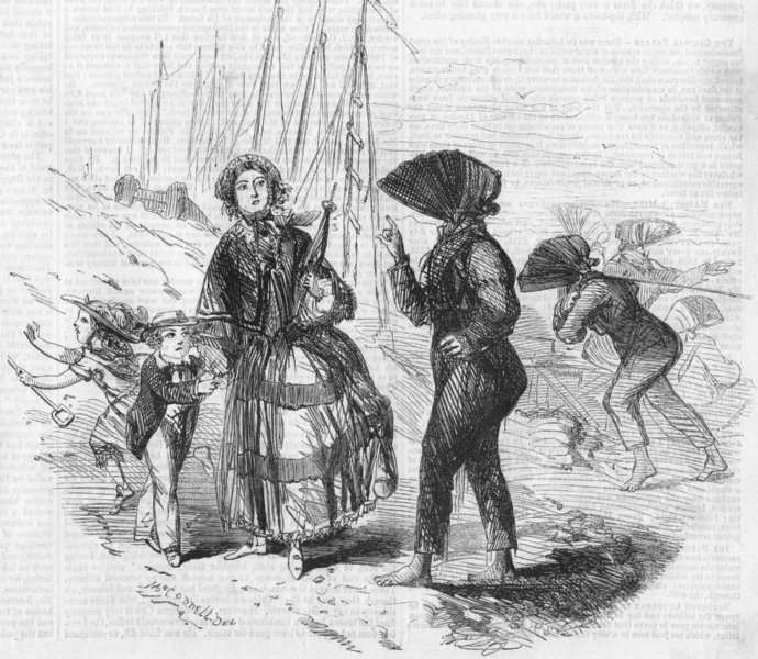 Associate Product DEVON. Seaside, No VI-Sketch, beach, Exmouth, antique print, 1856