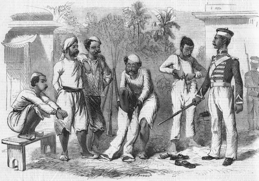 Associate Product MILITARIA. How Bengalese are converted into Sepoys, antique print, 1857