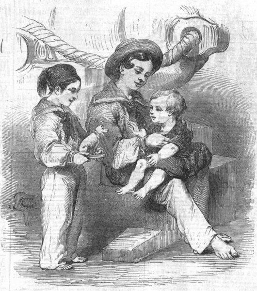 Associate Product CHILDREN. Bulgarian, wounded, Kustendjeh, antique print, 1854