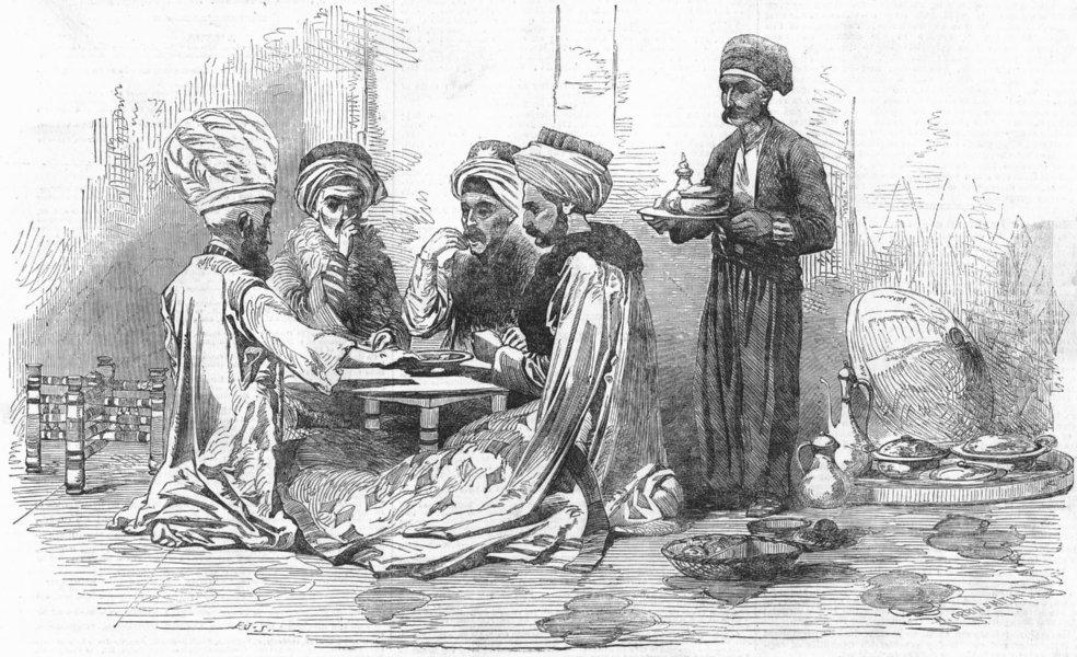Associate Product HYDE PARK. Turkish Expo museum, Corner-dinner party, antique print, 1854