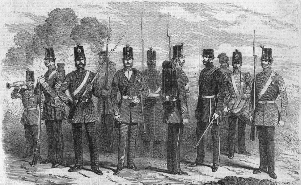 Associate Product UNIFORMS. Bugler; Sgt; LCpl; Officer; Private; Drummer, antique print, 1856