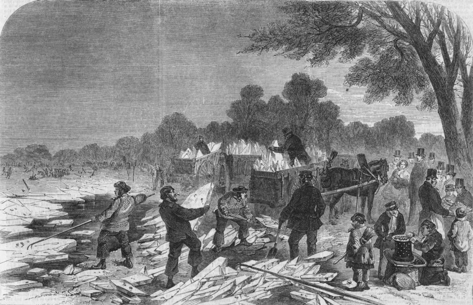 Associate Product LONDON. Frost. Collecting ice, Serpentine, Hyde Park, antique print, 1857