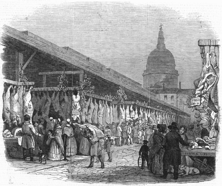 Associate Product LONDON. Christmas. Newgate market, Eve, antique print, 1845