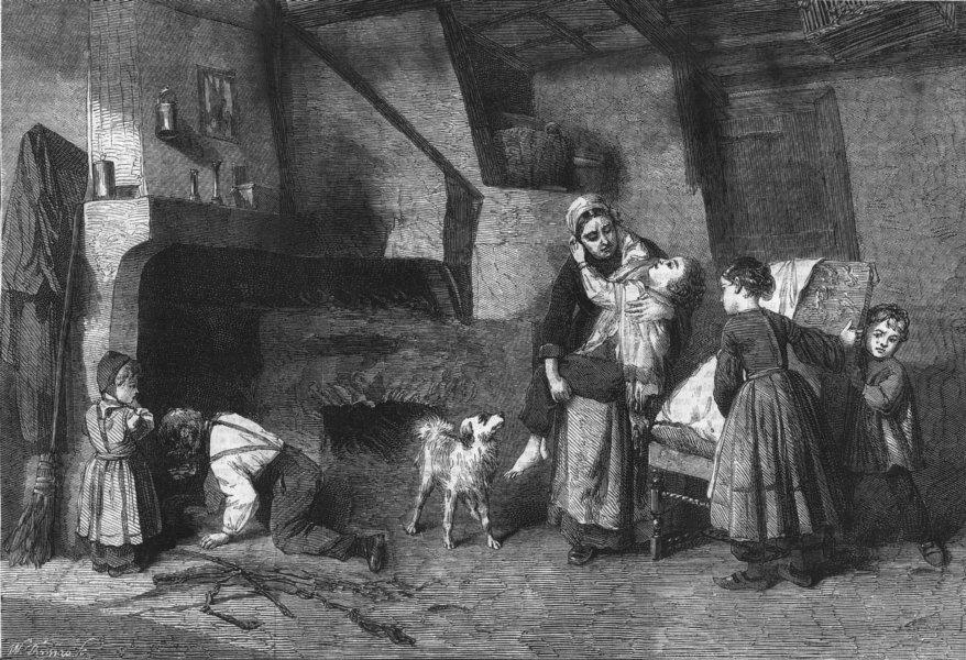 Associate Product FAMILY. Convalescent, antique print, 1862