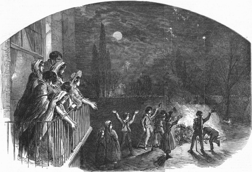 Associate Product CHILDREN. Fireworks on guy fawkes day, antique print, 1851