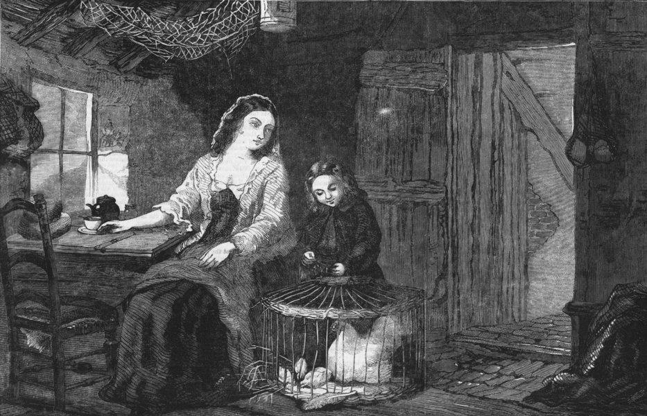 Associate Product CHILDREN. Feeding the chicks, antique print, 1859