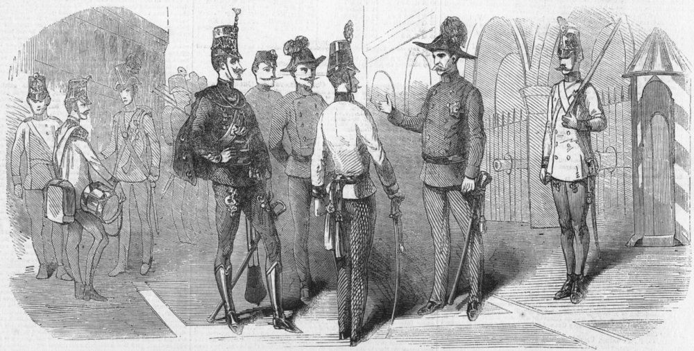 Associate Product MILITARIA. Uniforms, Austrian troops in Lombardy, antique print, 1859