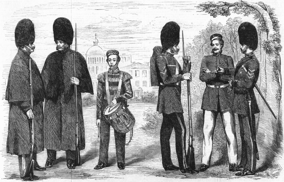 Associate Product COSTUME. The new dress of the guards, antique print, 1858