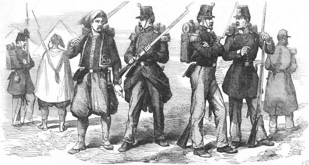 FRANCE. Chasseur de Vincennes; Zouave; Capote, Kepi, antique print, 1855