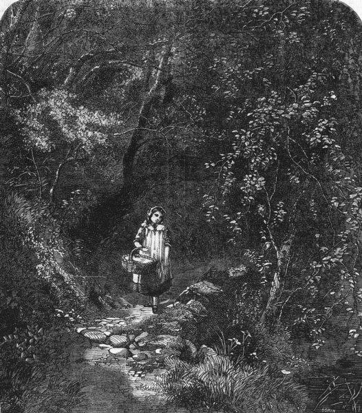 Associate Product CHILDREN. Girl basket woods path, antique print, 1859