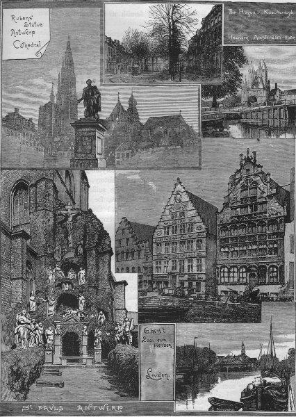 Associate Product HOLLAND & BELGIUM. The Hague, Leyden, Haarlem, Antwerp & Ghent 1882 old print