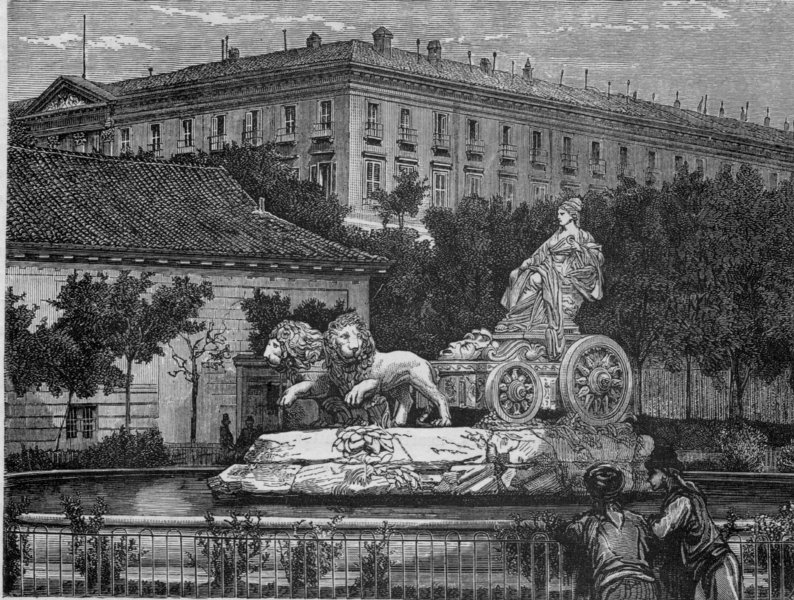 Associate Product MADRID. Fountain of Cybele, Prado, Madrid 1882 old antique print picture