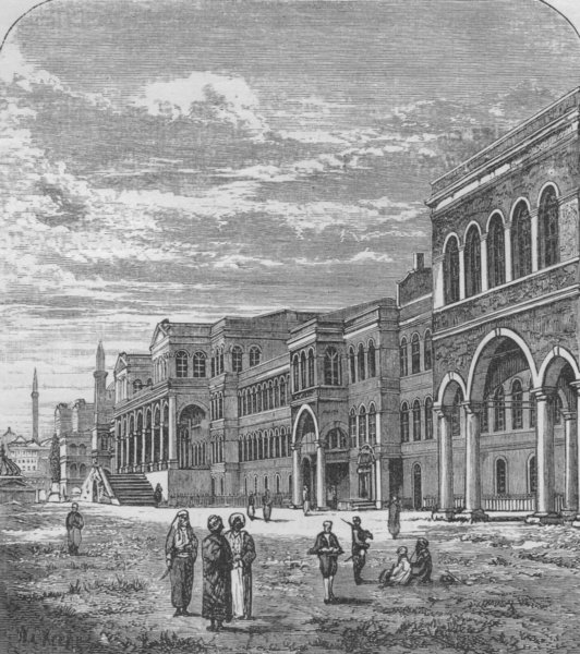 ISTANBUL. Palace of the Sublime Porte 1882 old antique vintage print picture