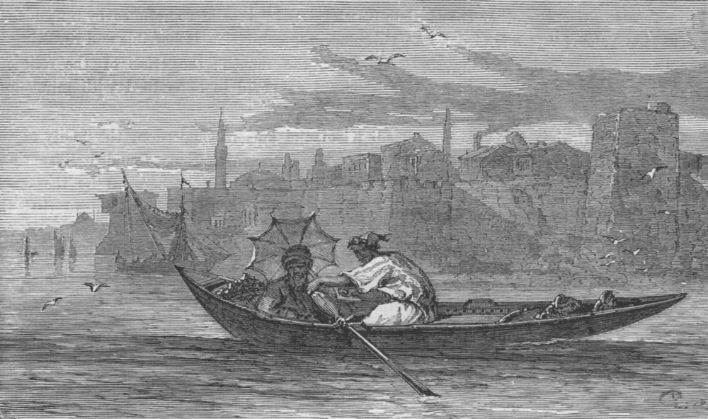 Associate Product ISTANBUL. A Caïque 1882 old antique vintage print picture