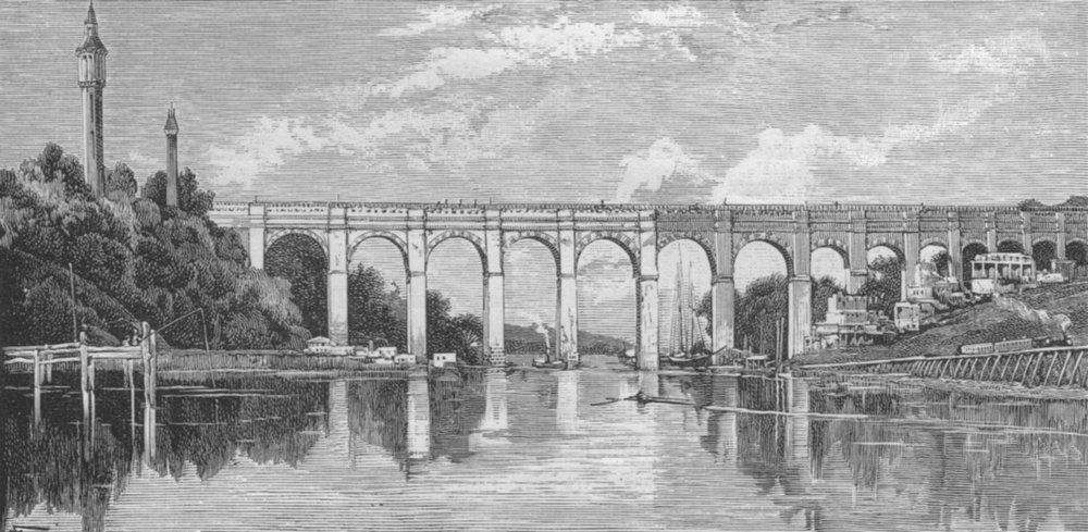 Associate Product NEW YORK CITY. High Bridge, Harlem River, New York 1882 old antique print