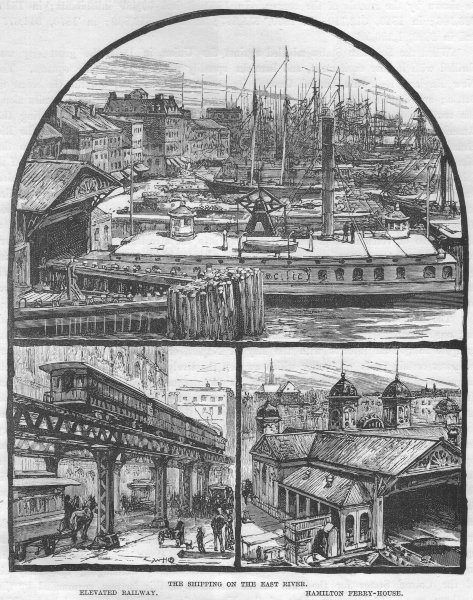 NEW YORK CITY. East river Shipping; Elevated Railway; Hamilton Ferry-house 1882