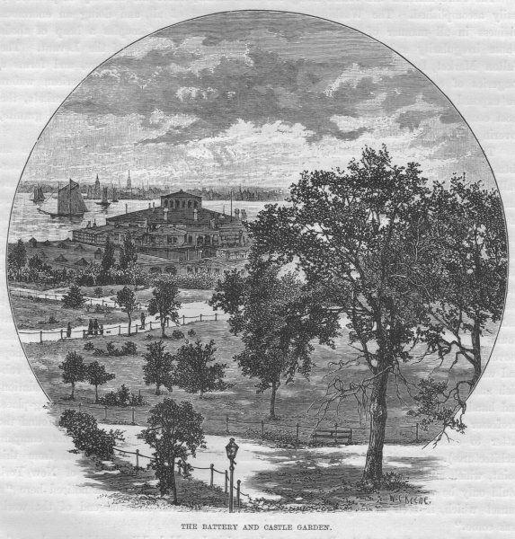 Associate Product NEW YORK CITY. The Battery and Castle Garden 1882 old antique print picture