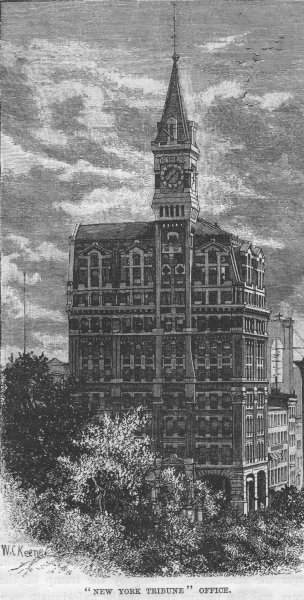 Associate Product NEW YORK CITY. New York Tribune Office 1882 old antique vintage print picture