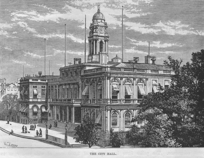 Associate Product NEW YORK CITY. The City Hall 1882 old antique vintage print picture