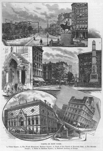 Associate Product NYC. Union/Madison Squares Worth Mnmt Masonic Temple Design Academy 1882 print