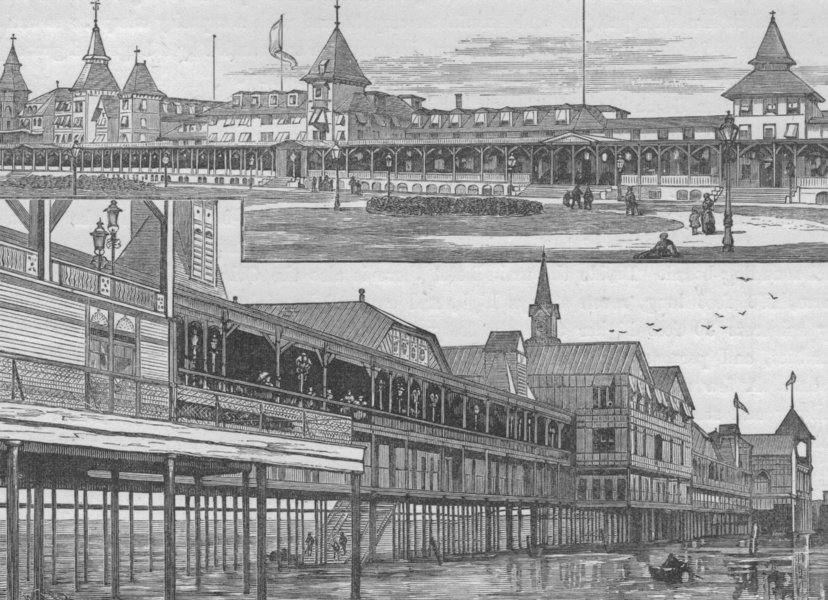 Associate Product CONEY ISLAND. the Iron Pier and Manhattan Beach Hotel 1882 old antique print