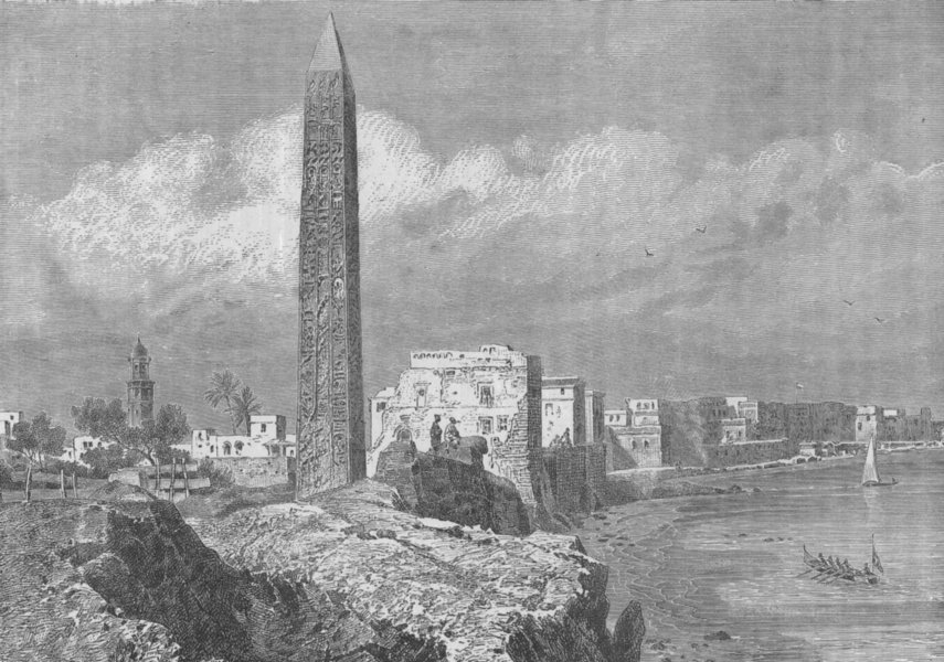 Associate Product ALEXANDRIA. Cleopatra's Needle 1882 old antique vintage print picture