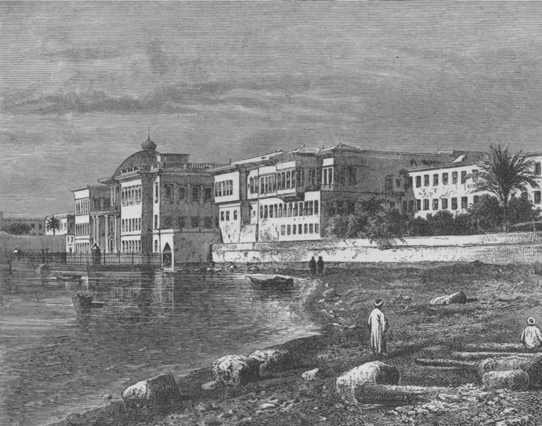 Associate Product ALEXANDRIA. Palace of the Khedive, Alexandria 1882 old antique print picture