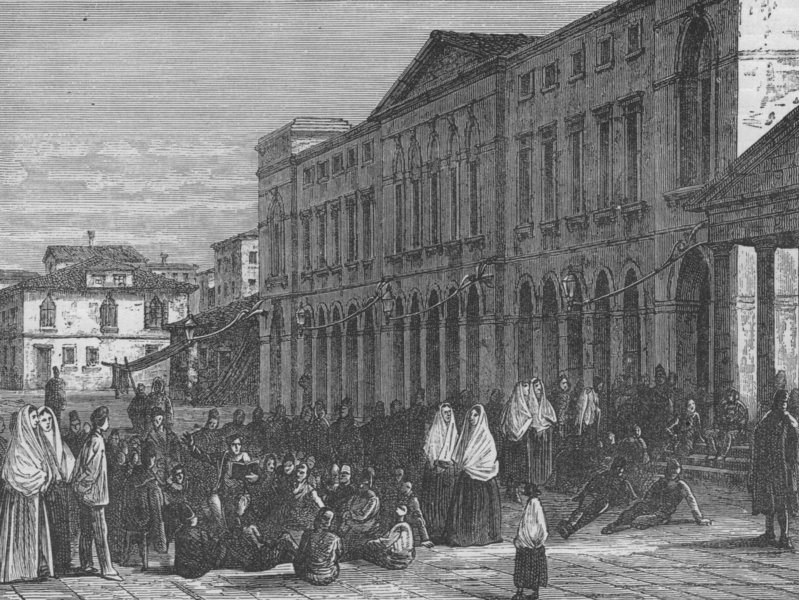 VENICE. In the Venetian Lagoon. the Town Hall, Chioggia 1882 old antique print