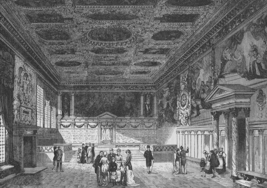 Associate Product VENICE. Hall of the Grand Council, Ducal Palace 1882 old antique print picture