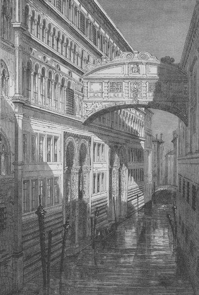 Associate Product VENICE. The Bridge of Sighs, Venice 1882 old antique vintage print picture