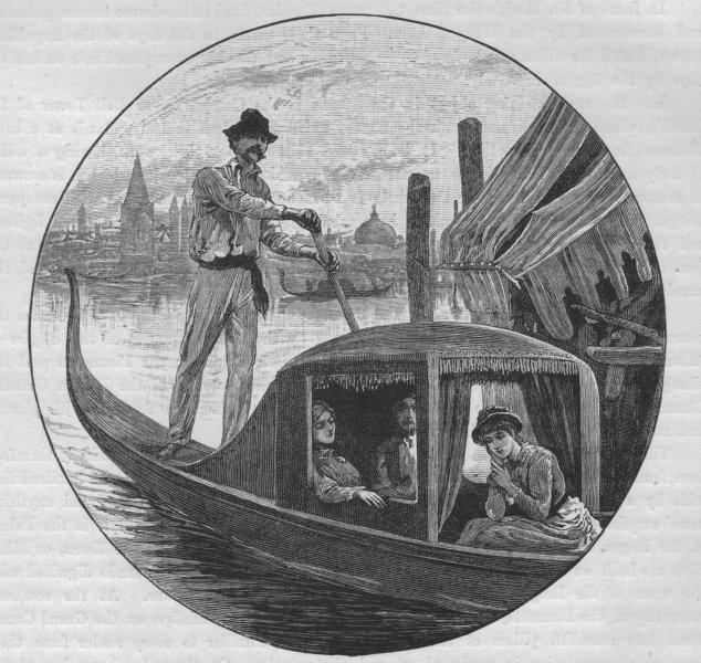 Associate Product VENICE. Gondola and Gondolier 1882 old antique vintage print picture