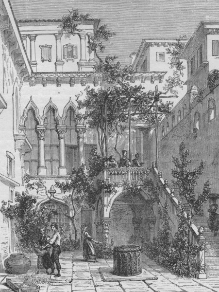 Associate Product VENICE. Courtyard of the Salviati Palace 1882 old antique print picture