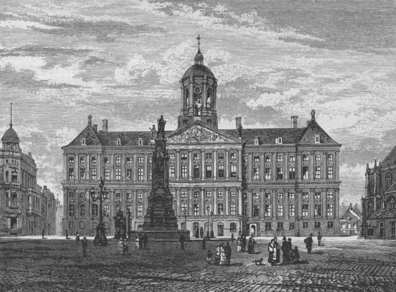 Associate Product AMSTERDAM. The Royal Palace 1882 old antique vintage print picture