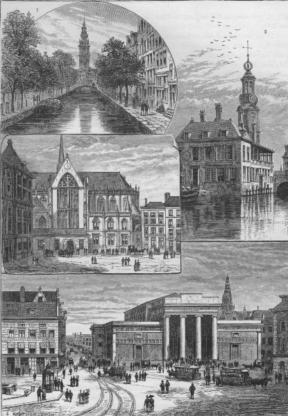 Associate Product AMSTERDAM. South Church; Mint Tower; Dam Square; Exchange 1882 old print