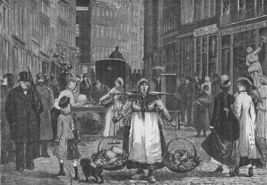 AMSTERDAM. A Street-scene in Amsterdam (Kalver Street) 1882 old antique print