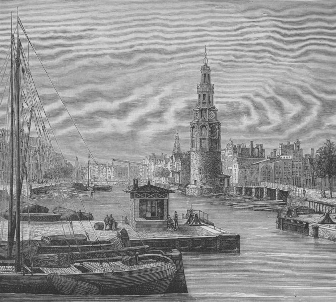 Associate Product AMSTERDAM. Quay (Houtgracht) in Amsterdam 1882 old antique print picture